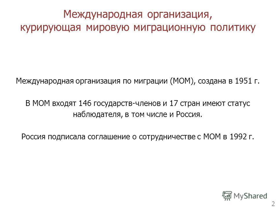 2 Международная организация по миграции (МОМ), создана в 1951 г. В МОМ входят 146 государств-членов и 17 стран имеют статус наблюдателя, в том числе и Россия. Россия подписала соглашение о сотрудничестве с МОМ в 1992 г. Международная организация, кур