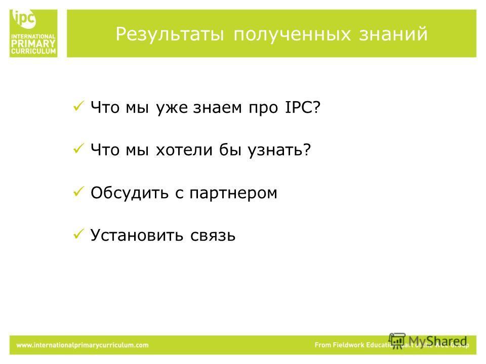 Что мы уже знаем про IPC? Что мы хотели бы узнать? Обсудить с партнером Установить связь Результаты полученных знаний