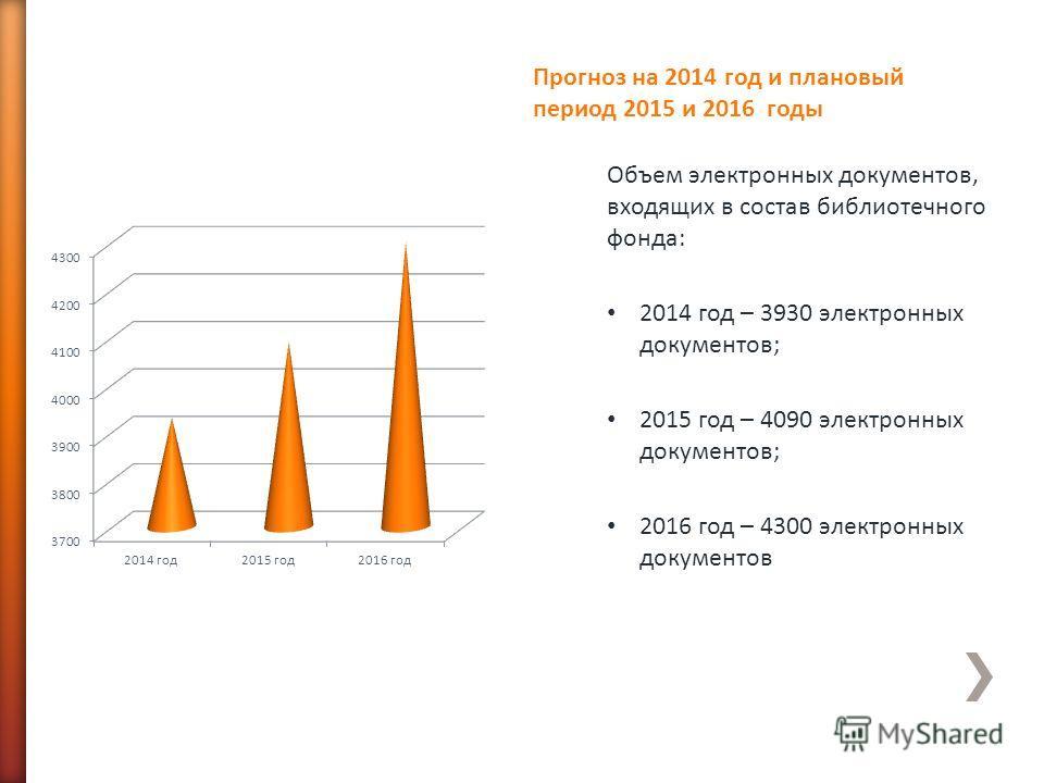 Объем электронных документов, входящих в состав библиотечного фонда: 2014 год – 3930 электронных документов; 2015 год – 4090 электронных документов; 2016 год – 4300 электронных документов