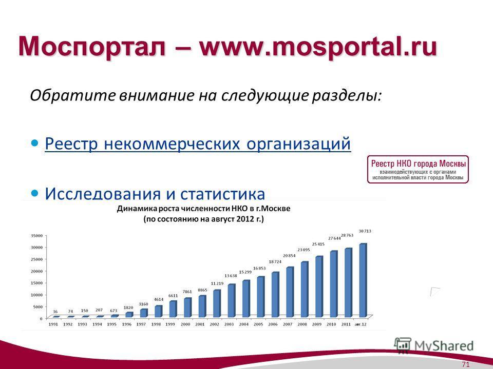 71 Моспортал – www.mosportal.ru Обратите внимание на следующие разделы: Реестр некоммерческих организаций Исследования и статистика