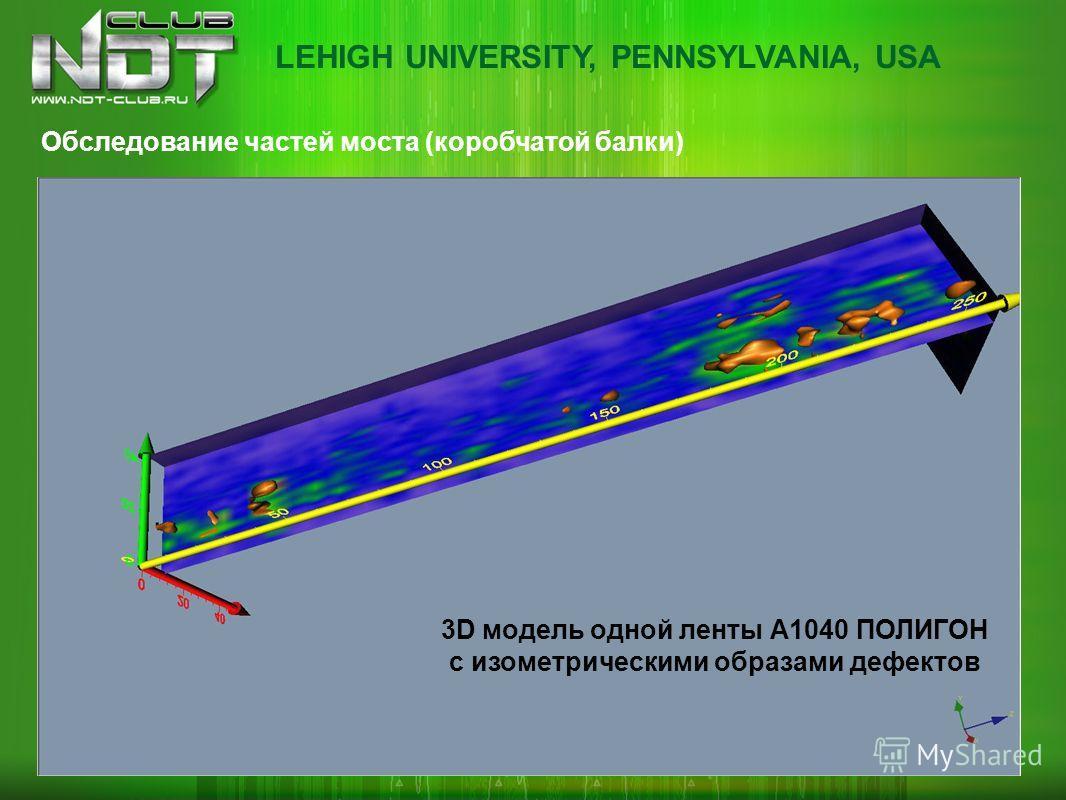 Обследование частей моста (коробчатой балки) 3D модель одной ленты А1040 ПОЛИГОН с изометрическими образами дефектов LEHIGH UNIVERSITY, PENNSYLVANIA, USA