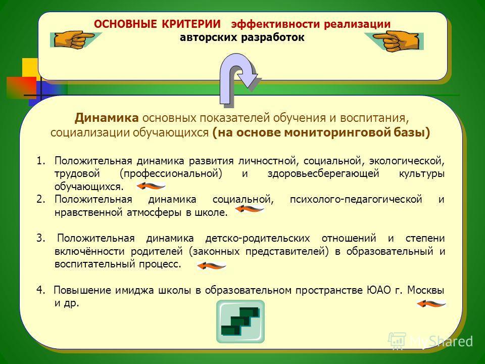 ОСНОВНЫЕ КРИТЕРИИ эффективности реализации авторских разработок ОСНОВНЫЕ КРИТЕРИИ эффективности реализации авторских разработок Динамика основных показателей обучения и воспитания, социализации обучающихся (на основе мониторинговой базы) 1.Положитель