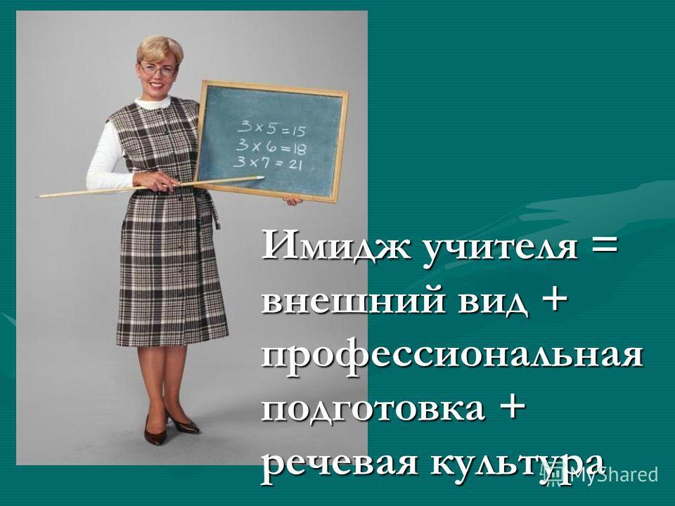 Имидж учителя = внешний вид + профессиональная подготовка + речевая культура