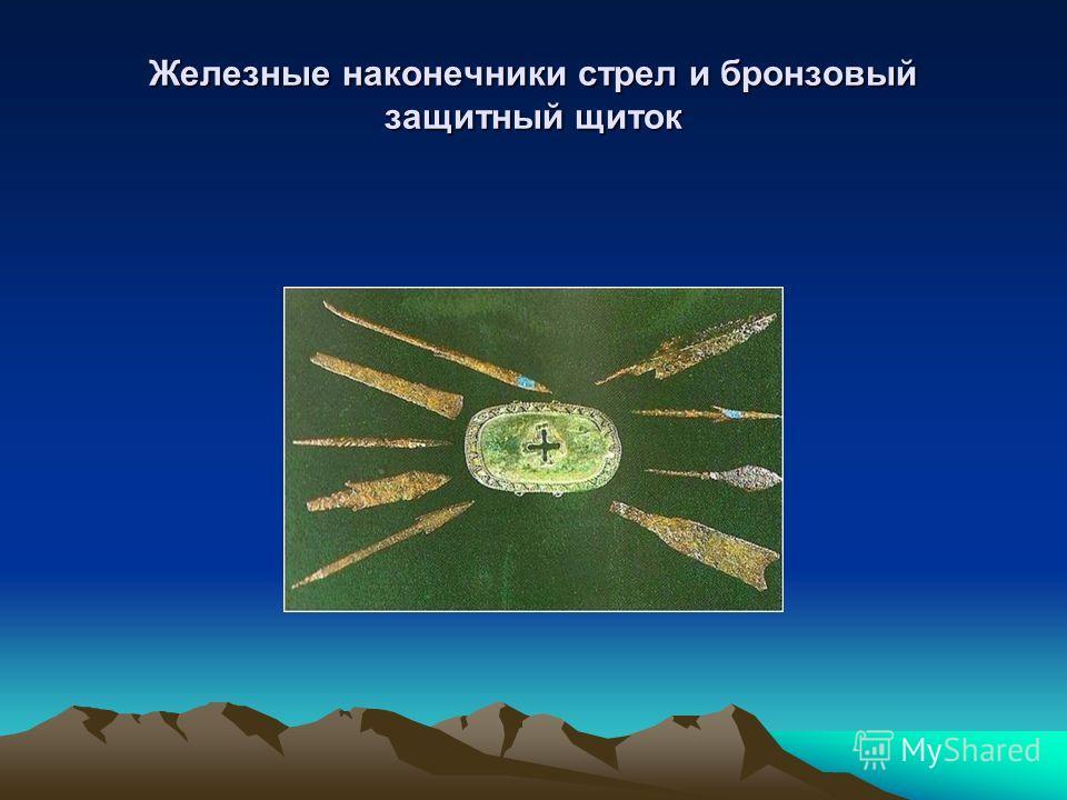 Железные наконечники стрел и бронзовый защитный щиток