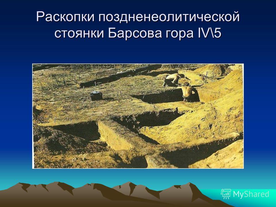 Раскопки поздненеолитической стоянки Барсова гора IV\5