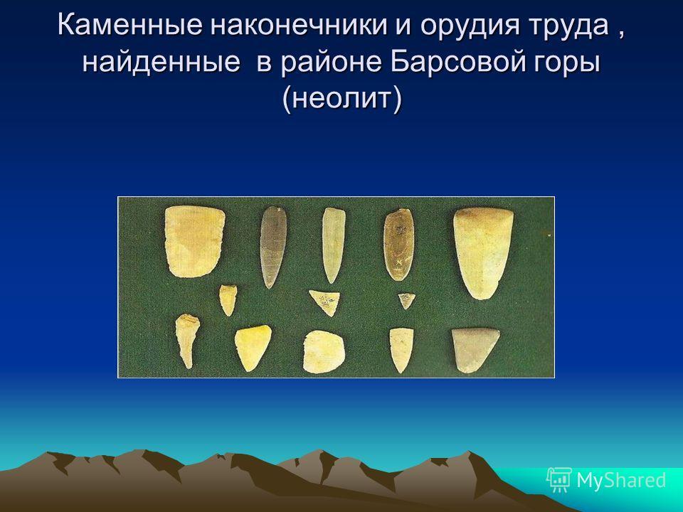 Каменные наконечники и орудия труда, найденные в районе Барсовой горы (неолит)