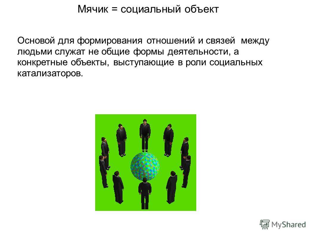Мячик = социальный объект Основой для формирования отношений и связей между людьми служат не общие формы деятельности, а конкретные объекты, выступающие в роли социальных катализаторов.
