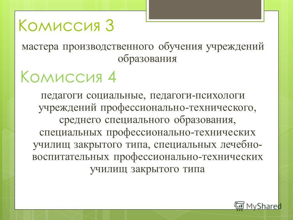 Комиссия 3 мастера производственного обучения учреждений образования Комиссия 4 педагоги социальные, педагоги-психологи учреждений профессионально-технического, среднего специального образования, специальных профессионально-технических училищ закрыто