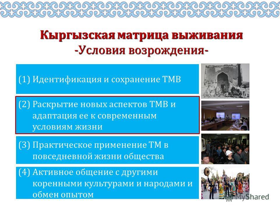 Кыргызская матрица выживания -Условия возрождения- (2) Раскрытие новых аспектов ТМВ и адаптация ее к современным условиям жизни (1) Идентификация и сохранение ТМВ (3) Практическое применение ТМ в повседневной жизни общества (4) Активное общение с дру