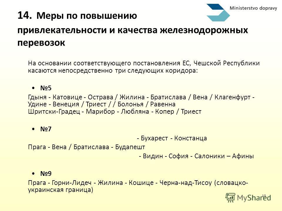15 На основании соответствующего постановления ЕС, Чешской Республики касаются непосредственно три следующих коридора: 5 Гдыня - Катовице - Острава / Жилина - Братислава / Вена / Клагенфурт - Удине - Венеция / Триест / / Болонья / Равенна Шритски-Гра