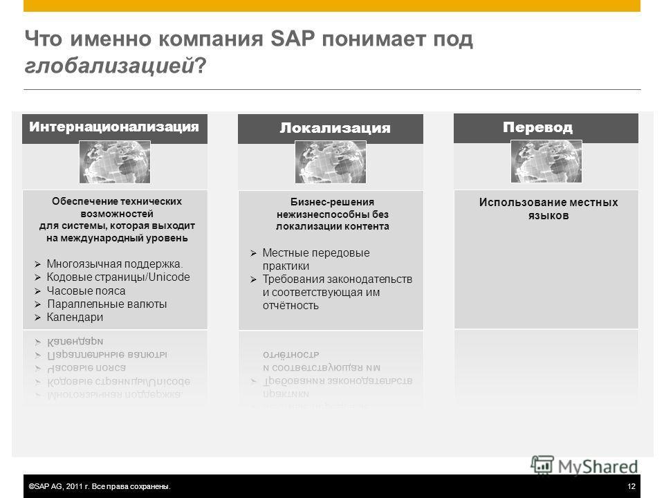 ©SAP AG, 2011 г. Все права сохранены.12 Что именно компания SAP понимает под глобализацией? Интернационализация Локализация Перевод