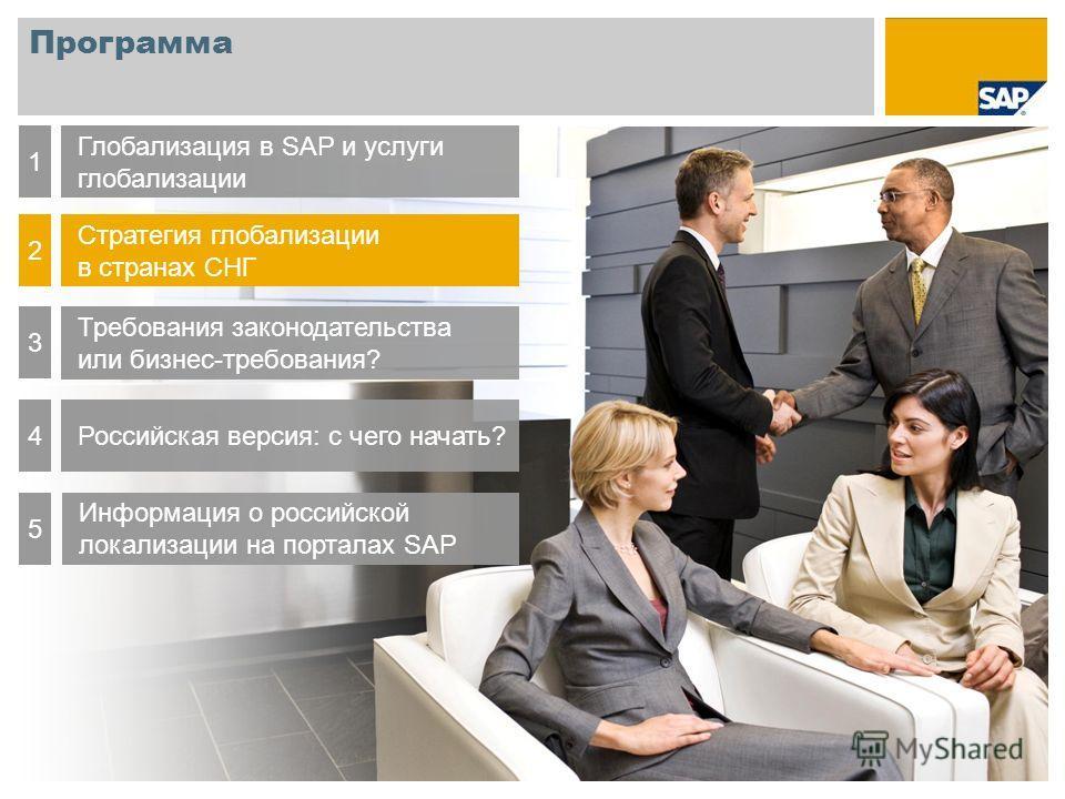 Программа Глобализация в SAP и услуги глобализации 1 Стратегия глобализации в странах СНГ 2 Требования законодательства или бизнес-требования? 3 Российская версия: с чего начать?4 Информация о российской локализации на порталах SAP 5