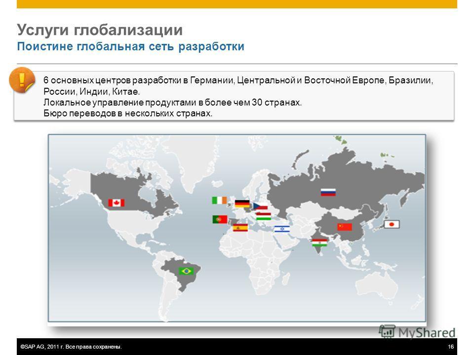 ©SAP AG, 2011 г. Все права сохранены.16 Услуги глобализации Поистине глобальная сеть разработки 6 основных центров разработки в Германии, Центральной и Восточной Европе, Бразилии, России, Индии, Китае. Локальное управление продуктами в более чем 30 с