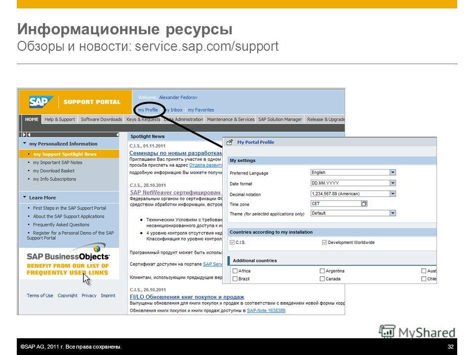 ©SAP AG, 2011 г. Все права сохранены.32 Информационные ресурсы Обзоры и новости: service.sap.com/support