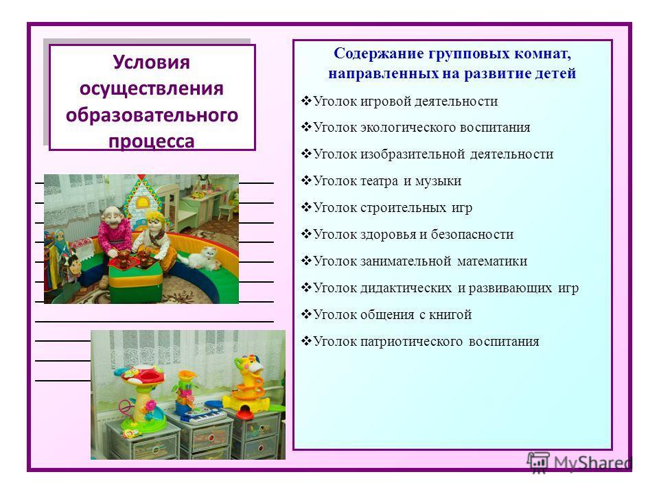 _____________________________ Условия осуществления образовательного процесса Содержание групповых комнат, направленных на развитие детей Уголок игровой деятельности Уголок экологического воспитания Уголок изобразительной деятельности Уголок театра и