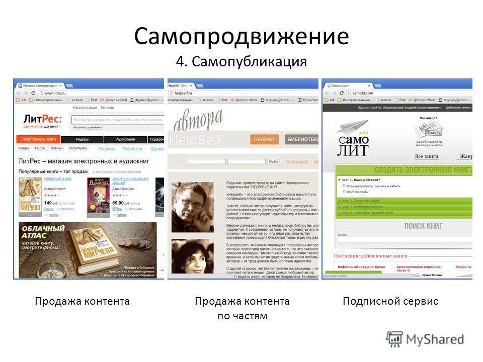 Самопродвижение 4. Самопубликация Продажа контентаПродажа контента по частям Подписной сервис