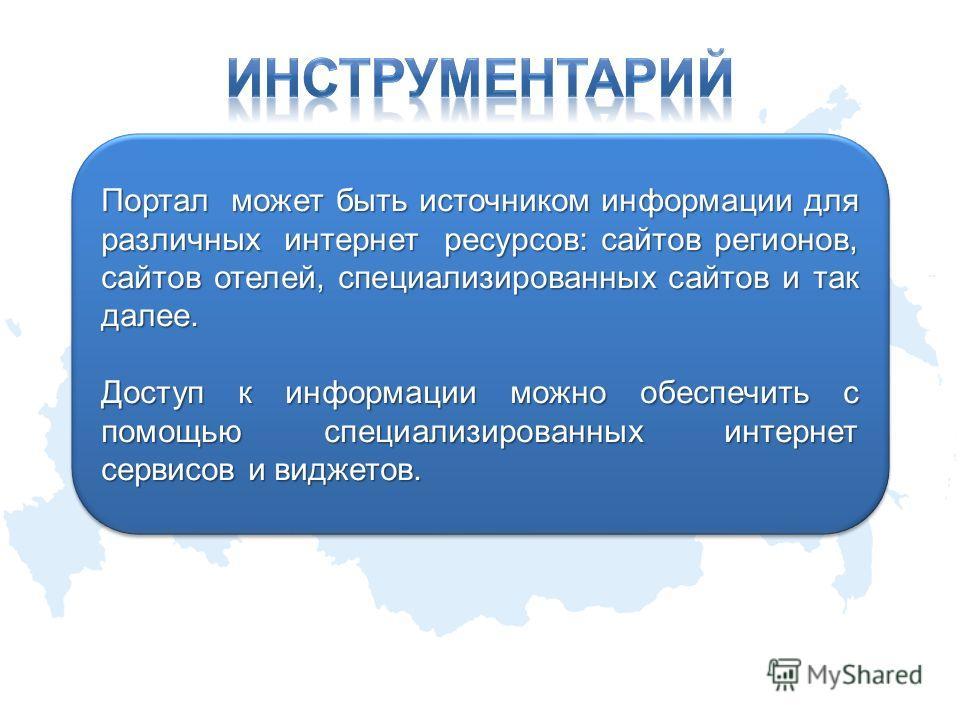Портал может быть источником информации для различных интернет ресурсов: сайтов регионов, сайтов отелей, специализированных сайтов и так далее. Доступ к информации можно обеспечить с помощью специализированных интернет сервисов и виджетов. Портал мож