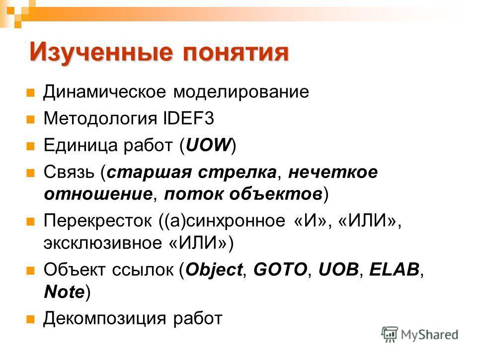 Изученные понятия Динамическое моделирование Методология IDEF3 Единица работ (UOW) Связь (старшая стрелка, нечеткое отношение, поток объектов) Перекресток ((а)синхронное «И», «ИЛИ», эксклюзивное «ИЛИ») Объект ссылок (Object, GOTO, UOB, ELAB, Note) Де