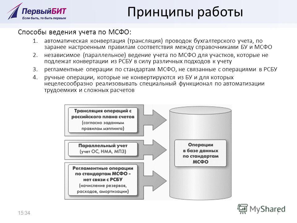 Принципы работы Способы ведения учета по МСФО: 1.автоматическая конвертация (трансляция) проводок бухгалтерского учета, по заранее настроенным правилам соответствия между справочниками БУ и МСФО 2.независимое (параллельное) ведение учета по МСФО для