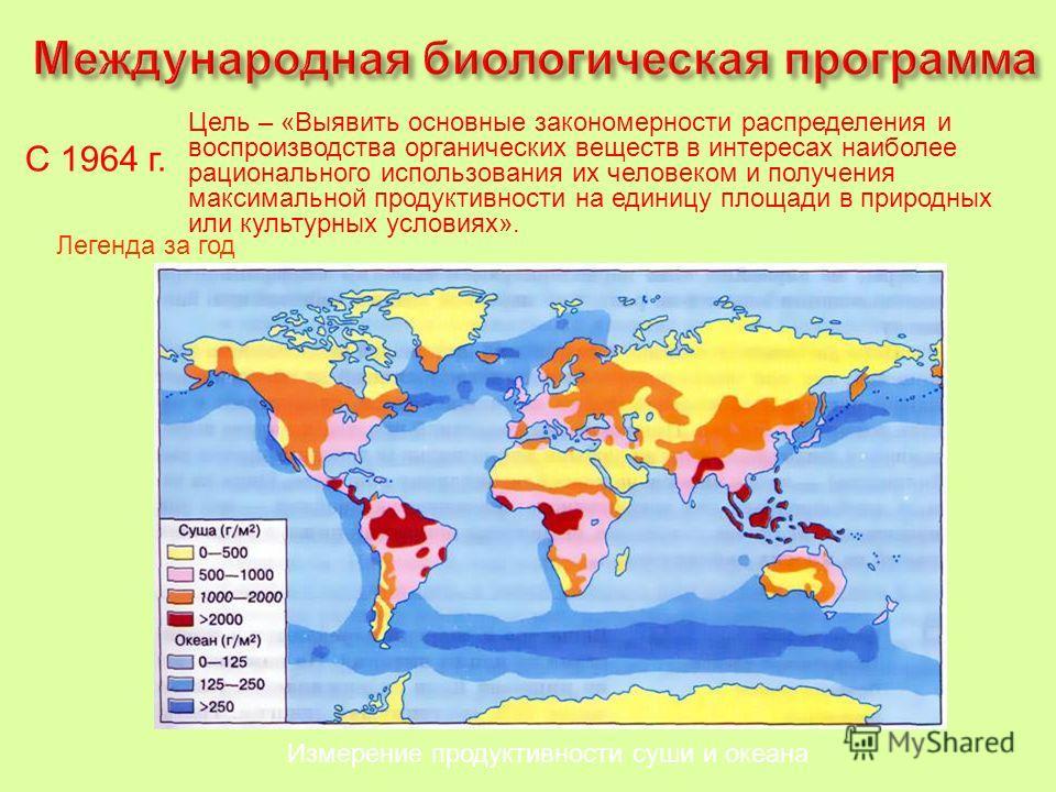 Измерение продуктивности суши и океана С 1964 г. Цель – «Выявить основные закономерности распределения и воспроизводства органических веществ в интересах наиболее рационального использования их человеком и получения максимальной продуктивности на еди