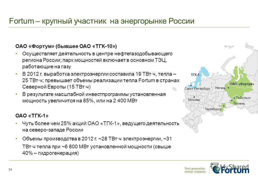 Fortum – крупный участник на энергорынке России OAO «Фортум» (бывшее ОАО «ТГК-10») Осуществляет деятельность в центре нефтегазодобывающего региона России; парк мощностей включает в основном ТЭЦ, работающие на газу В 2012 г. выработка электроэнергии с