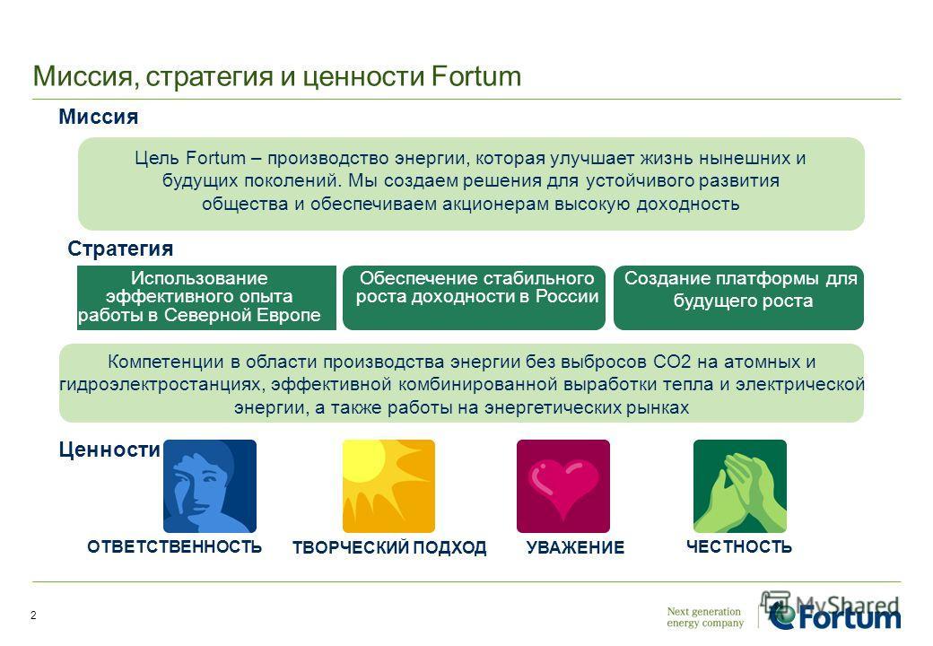 Миссия, стратегия и ценности Fortum 2 ОТВЕТСТВЕННОСТЬ ТВОРЧЕСКИЙ ПОДХОД УВАЖЕНИЕ ЧЕСТНОСТЬ Ценности Стратегия Миссия Использование эффективного опыта работы в Северной Европе Обеспечение стабильного роста доходности в России Создание платформы для бу