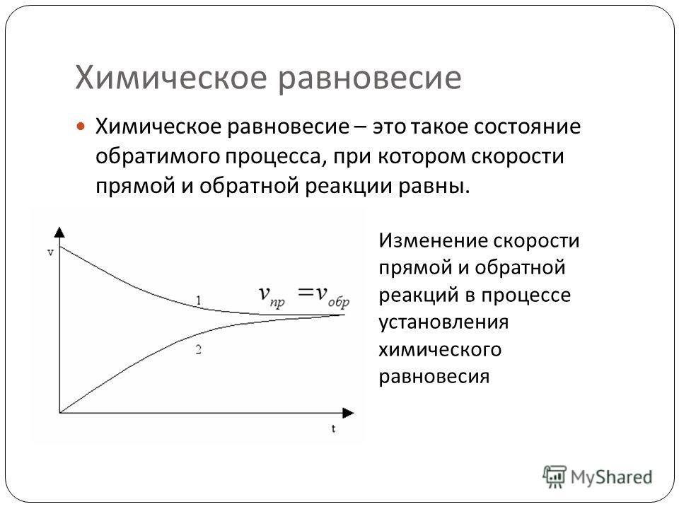 Химическое равновесие Химическое равновесие – это такое состояние обратимого процесса, при котором скорости прямой и обратной реакции равны. Изменение скорости прямой и обратной реакций в процессе установления химического равновесия