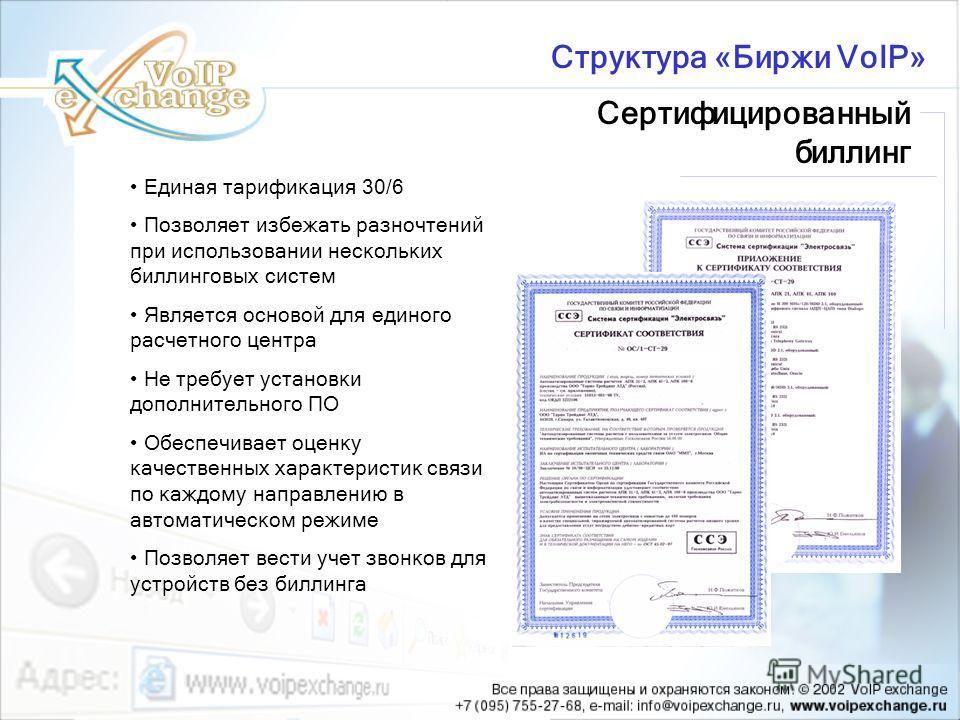 Сертифицированный биллинг Структура «Биржи VoIP» Единая тарификация 30/6 Позволяет избежать разночтений при использовании нескольких биллинговых систем Является основой для единого расчетного центра Не требует установки дополнительного ПО Обеспечивае