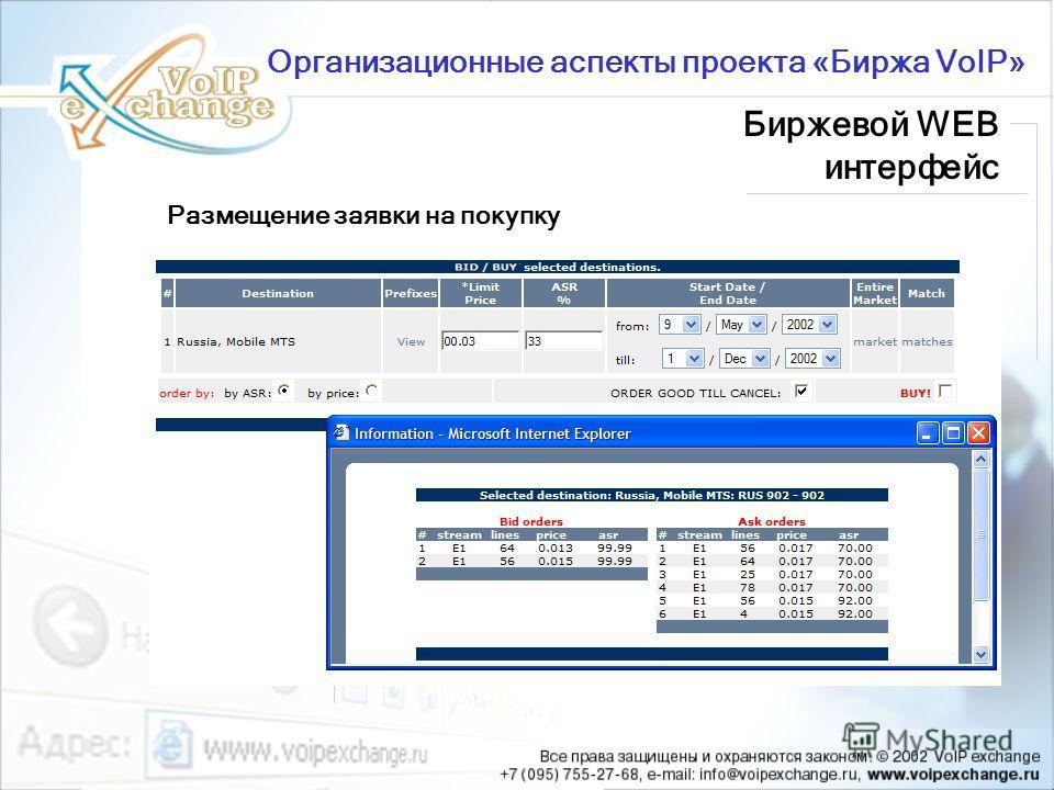 Размещение заявки на покупку Организационные аспекты проекта «Биржа VoIP» Биржевой WEB интерфейс