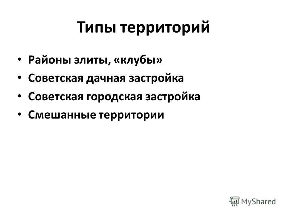 Типы территорий Районы элиты, «клубы» Советская дачная застройка Советская городская застройка Смешанные территории