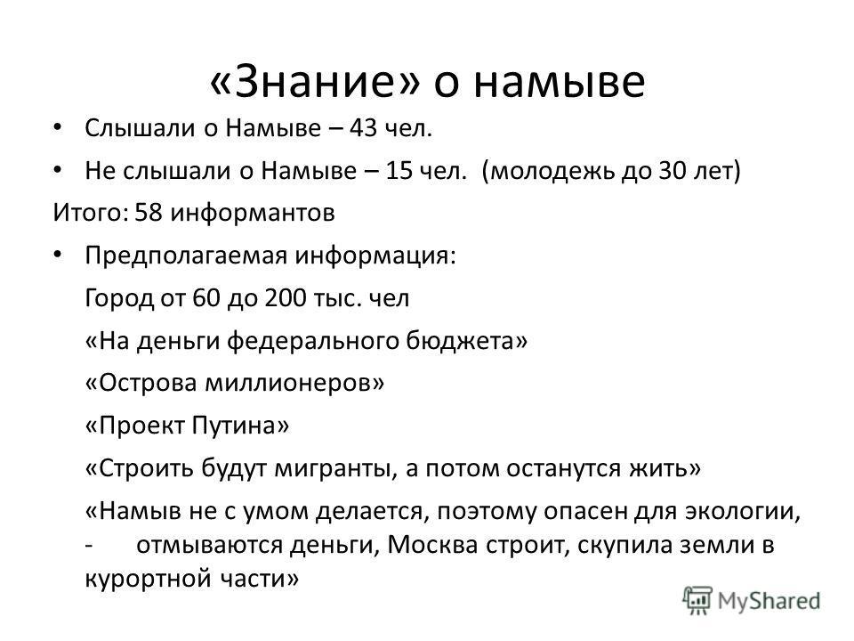 «Знание» о намыве Слышали о Намыве – 43 чел. Не слышали о Намыве – 15 чел. (молодежь до 30 лет) Итого: 58 информантов Предполагаемая информация: Город от 60 до 200 тыс. чел «На деньги федерального бюджета» «Острова миллионеров» «Проект Путина» «Строи