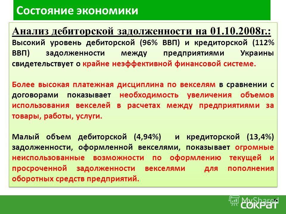 Состояние экономики Анализ дебиторской задолженности на 01.10.2008г.: Высокий уровень дебиторской (96% ВВП) и кредиторской (112% ВВП) задолженности между предприятиями Украины свидетельствует о крайне неэффективной финансовой системе. Более высокая п