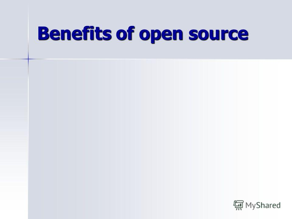 Benefits of open source
