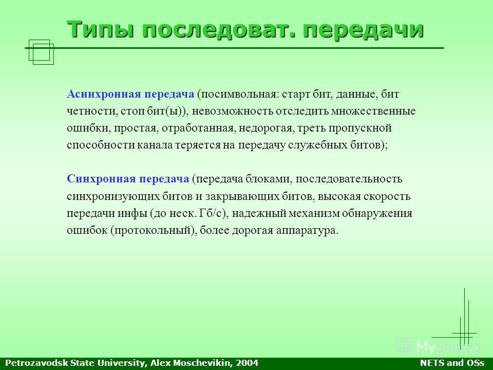 Petrozavodsk State University, Alex Moschevikin, 2004NETS and OSs Типы последоват. передачи Асинхронная передача (посимвольная: старт бит, данные, бит четности, стоп бит(ы)), невозможность отследить множественные ошибки, простая, отработанная, недоро