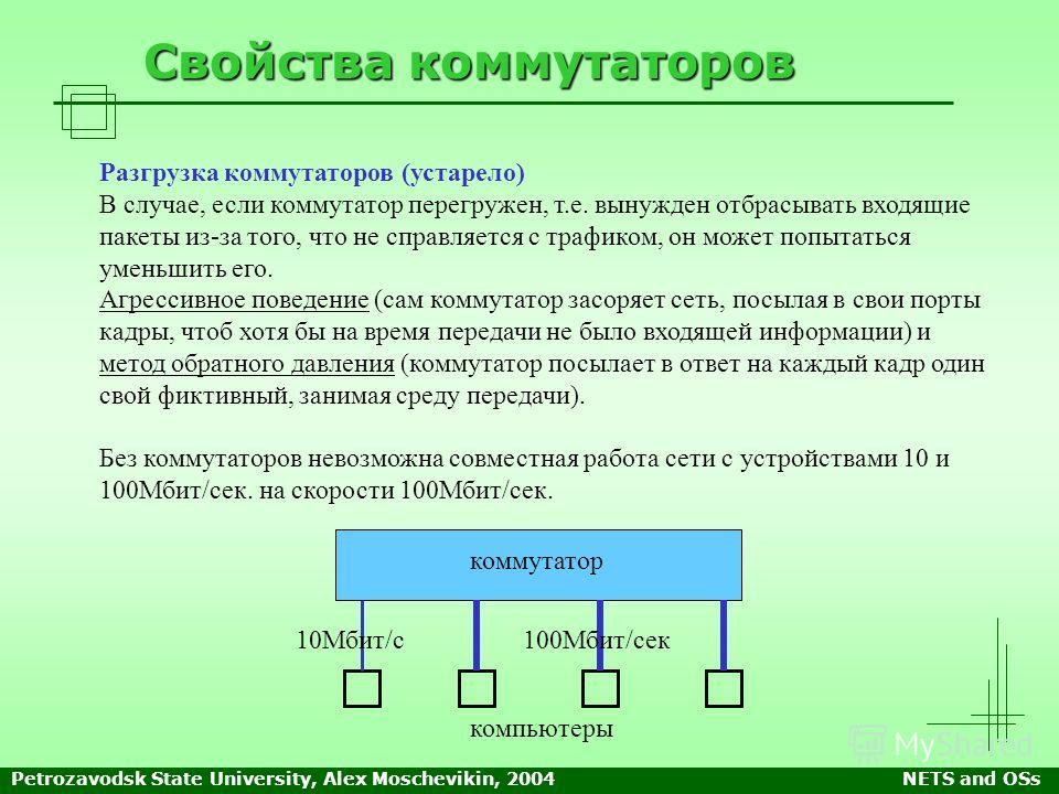 Petrozavodsk State University, Alex Moschevikin, 2004NETS and OSs Свойства коммутаторов Разгрузка коммутаторов (устарело) В случае, если коммутатор перегружен, т.е. вынужден отбрасывать входящие пакеты из-за того, что не справляется с трафиком, он мо