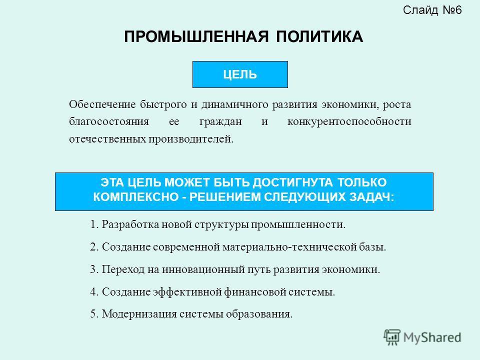 Слайд 6 Обеспечение быстрого и динамичного развития экономики, роста благосостояния ее граждан и конкурентоспособности отечественных производителей. ЦЕЛЬ ПРОМЫШЛЕННАЯ ПОЛИТИКА ЭТА ЦЕЛЬ МОЖЕТ БЫТЬ ДОСТИГНУТА ТОЛЬКО КОМПЛЕКСНО - РЕШЕНИЕМ СЛЕДУЮЩИХ ЗАДА