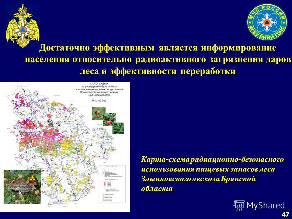 47 Достаточно эффективным является информирование населения относительно радиоактивного загрязнения даров леса и эффективности переработки Карта-схема радиационно-безопасного использования пищевых запасов леса Злынковского лесхоза Брянской области