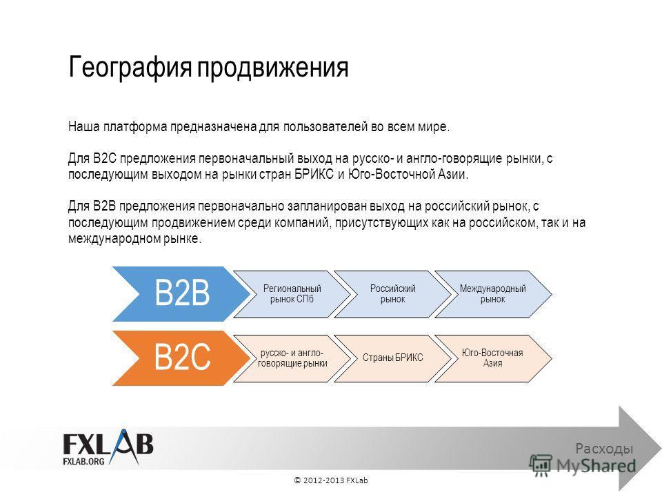 География продвижения Расходы Наша платформа предназначена для пользователей во всем мире. Для B2C предложения первоначальный выход на русско- и англо-говорящие рынки, с последующим выходом на рынки стран БРИКС и Юго-Восточной Азии. Для B2B предложен