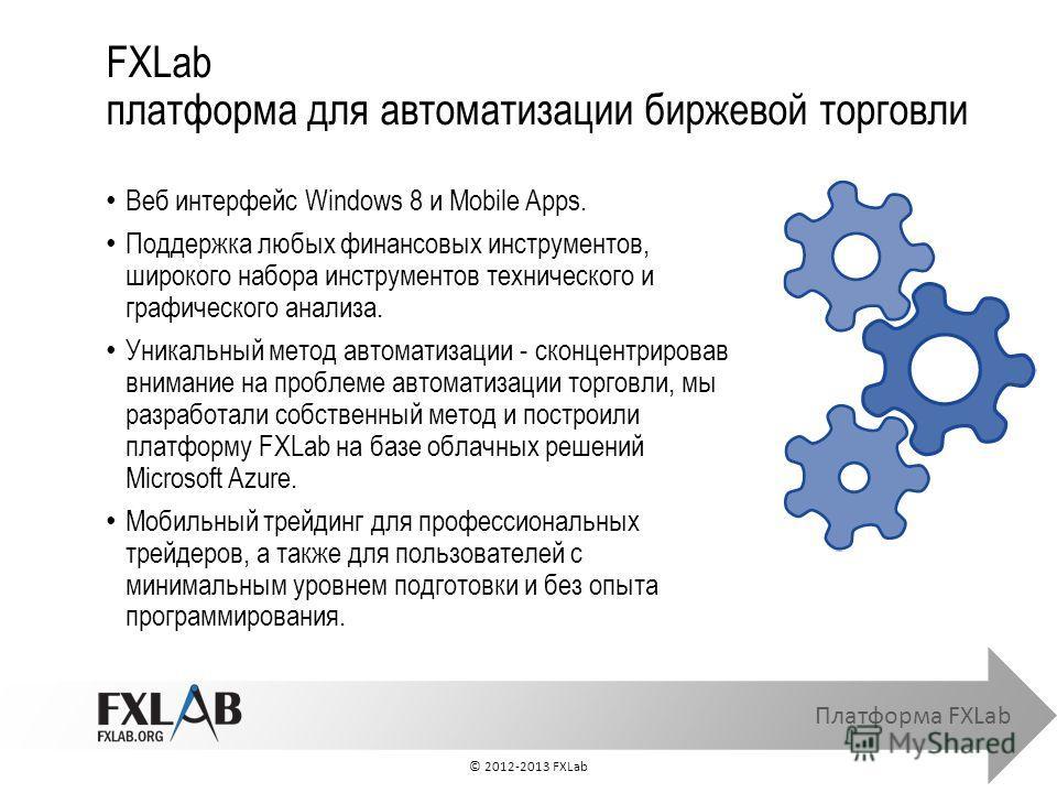 Платформа FXLab Веб интерфейс Windows 8 и Mobile Apps. Поддержка любых финансовых инструментов, широкого набора инструментов технического и графического анализа. Уникальный метод автоматизации - cконцентрировав внимание на проблеме автоматизации торг