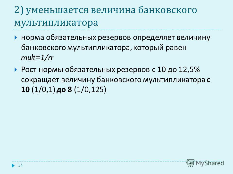 2) уменьшается величина банковского мультипликатора норма обязательных резервов определяет величину банковского мультипликатора, который равен mult=1/rr Рост нормы обязательных резервов с 10 до 12,5% сокращает величину банковского мультипликатора с 1