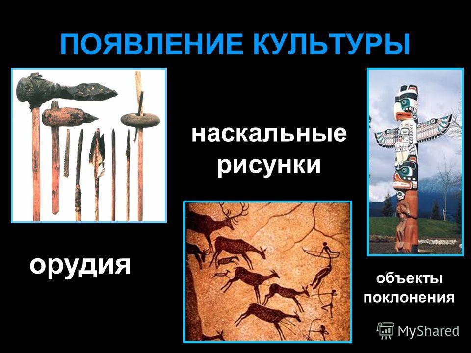 ПОЯВЛЕНИЕ КУЛЬТУРЫ орудия наскальные рисунки объекты поклонения