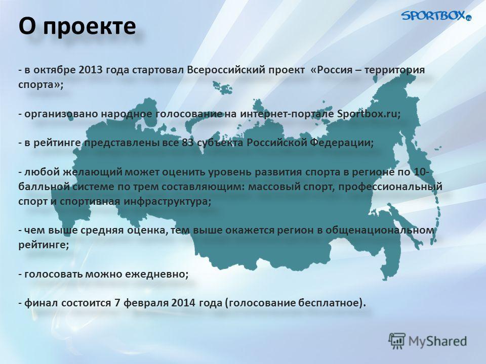 О проекте - в октябре 2013 года стартовал Всероссийский проект «Россия – территория спорта»; - организовано народное голосование на интернет-портале Sportbox.ru; - в рейтинге представлены все 83 субъекта Российской Федерации; - любой желающий может о