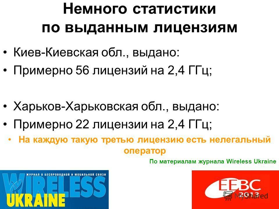 Немного статистики по выданным лицензиям Киев-Киевская обл., выдано: Примерно 56 лицензий на 2,4 ГГц; Харьков-Харьковская обл., выдано: Примерно 22 лицензии на 2,4 ГГц; На каждую такую третью лицензию есть нелегальный оператор По материалам журнала W