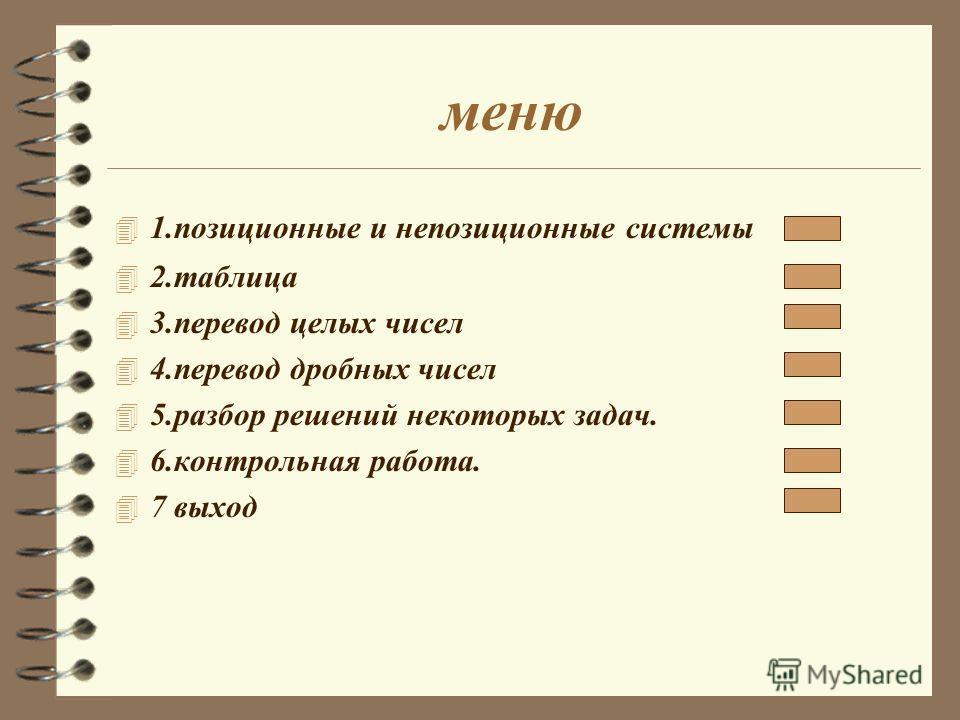 меню 4 1.позиционные и непозиционные системы 4 2.таблица 4 3.перевод целых чисел 4 4.перевод дробных чисел 4 5.разбор решений некоторых задач. 4 6.контрольная работа. 4 7 выход
