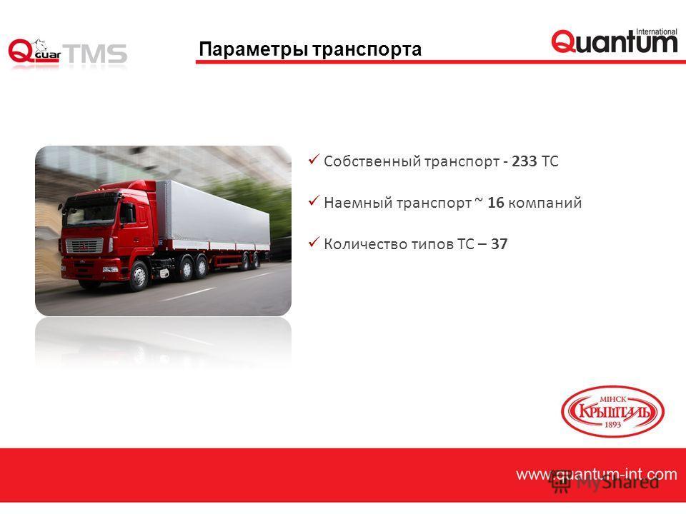 Параметры транспорта Собственный транспорт - 233 ТС Наемный транспорт ~ 16 компаний Количество типов ТС – 37