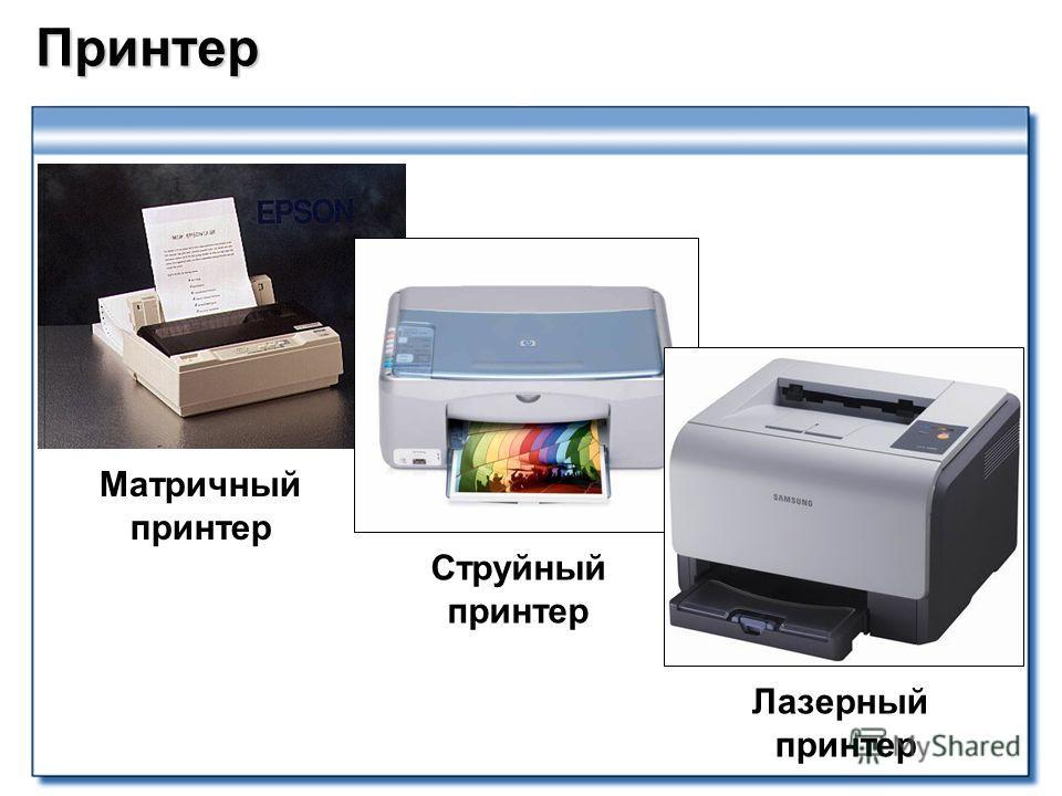 Принтер Матричный принтер Струйный принтер Лазерный принтер