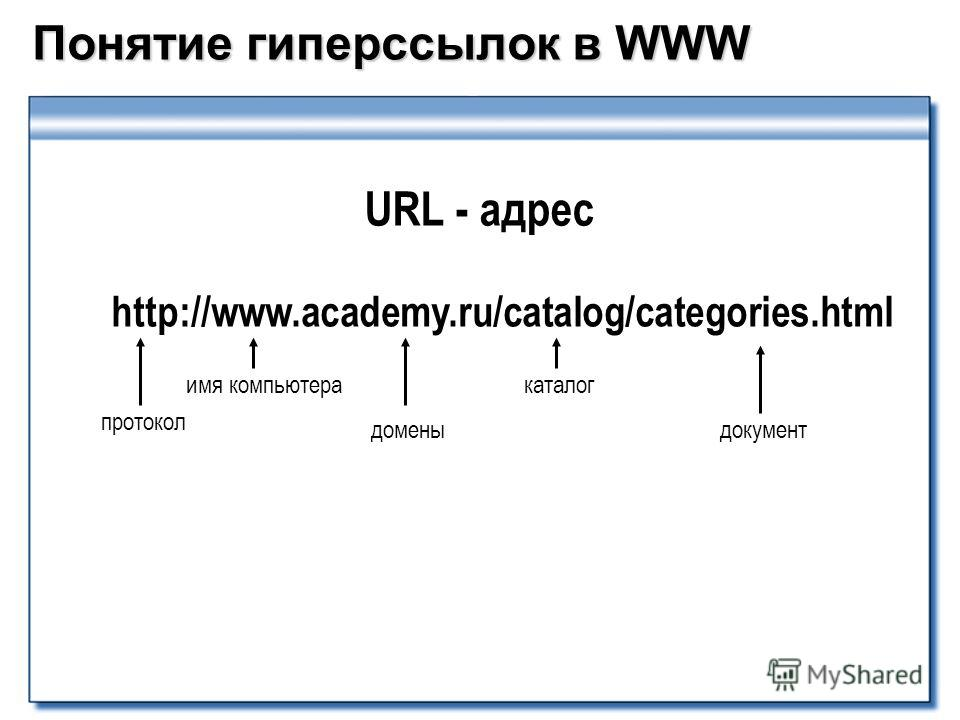 Понятие гиперссылок в WWW протокол http://www.academy.ru/catalog/categories.html имя компьютера домены каталог документ URL - адрес