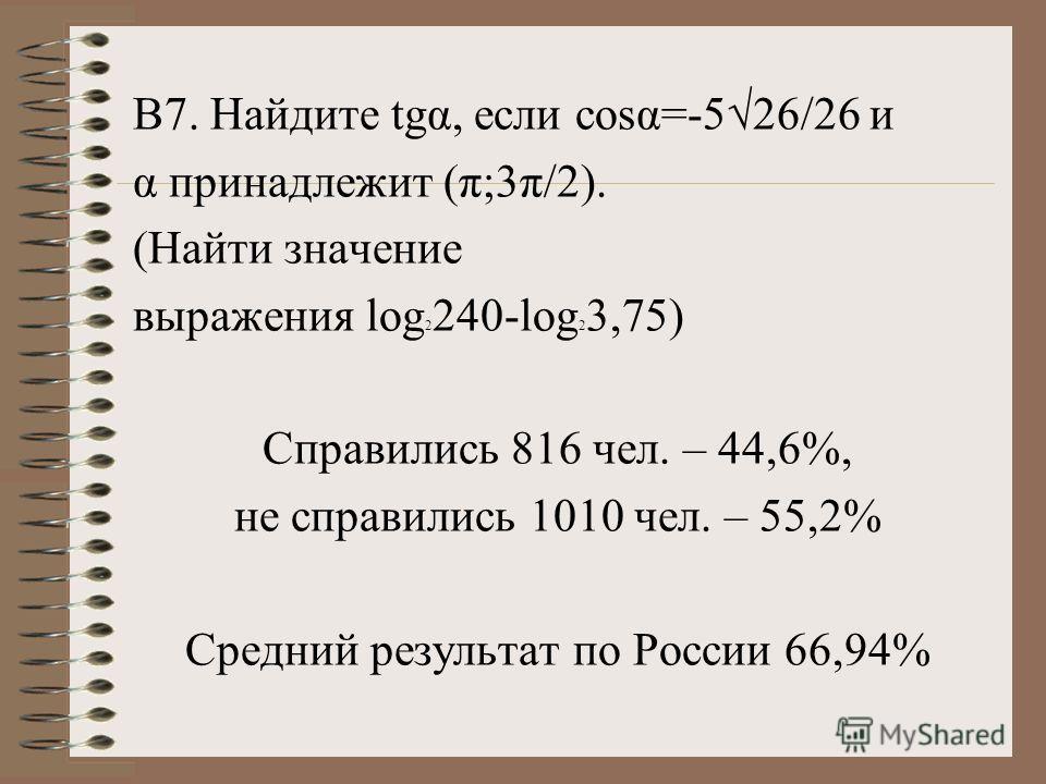 В7. Найдите tgα, если cosα=-526/26 и α принадлежит (π;3π/2). (Найти значение выражения log 2 240-log 2 3,75) Справились 816 чел. – 44,6%, не справились 1010 чел. – 55,2% Средний результат по России 66,94%