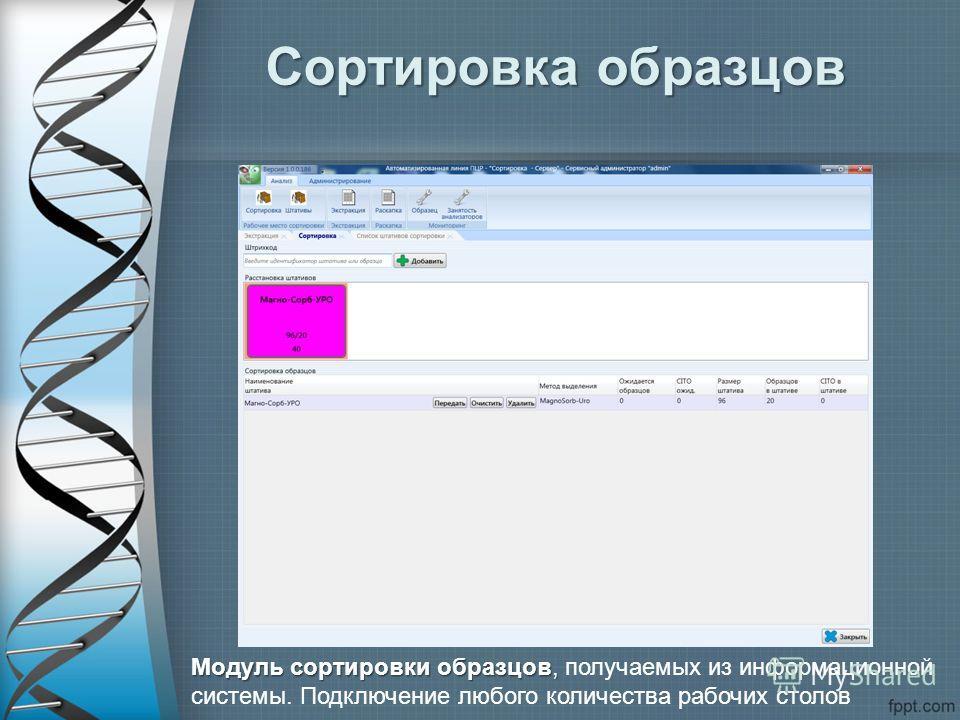 Сортировка образцов Модуль сортировки образцов, Модуль сортировки образцов, получаемых из информационной системы. Подключение любого количества рабочих столов
