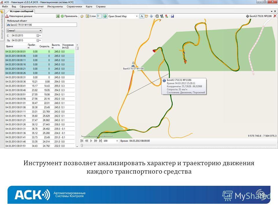 Инструмент позволяет анализировать характер и траекторию движения каждого транспортного средства 10